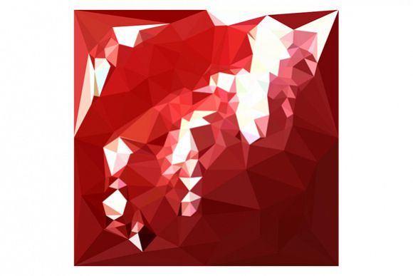 Coquelicot Red Abstract Low Polygon Background example image 1