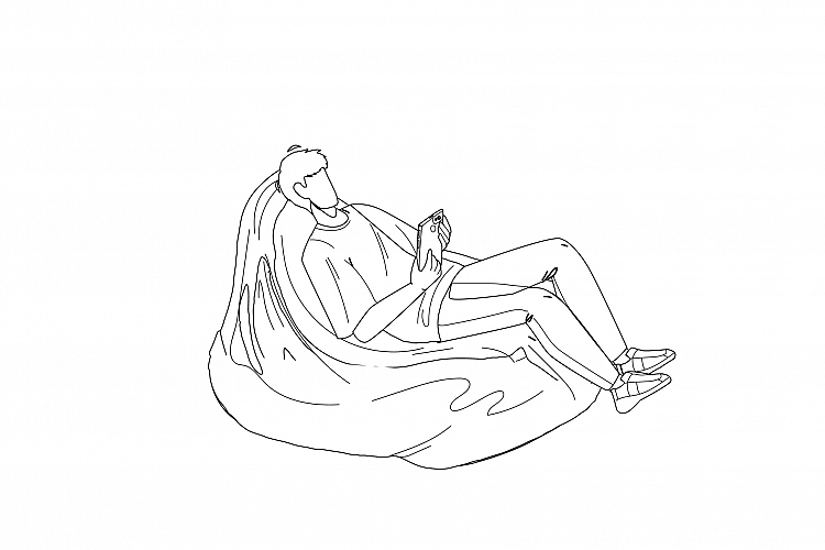 Man Relax On Bean Bag And Playing On Phone Vector example image 1