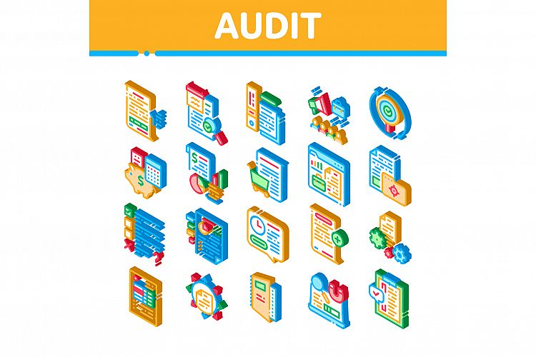 Audit Finance Report Isometric Icons Set Vector example image 1
