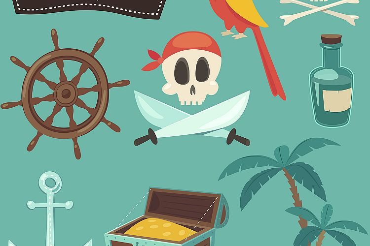 Set of cute pirate icons example image 1