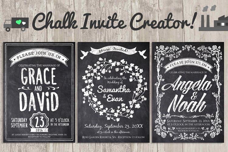 Chalk Invite Creator Bundle Wedding Save Date Vintage Event example image 1