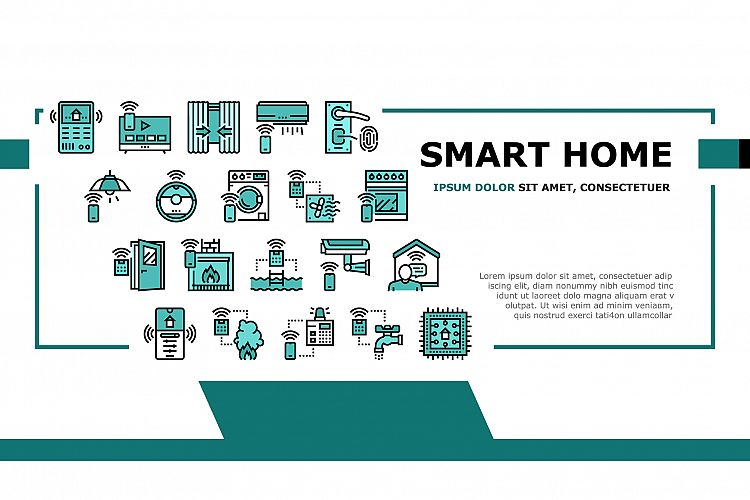 Smart Home Equipment Landing Header Vector example image 1