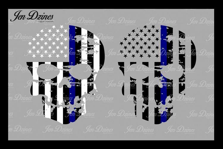 Blue Line Distressed Skulls SVG DXF EPS PNG example image 1