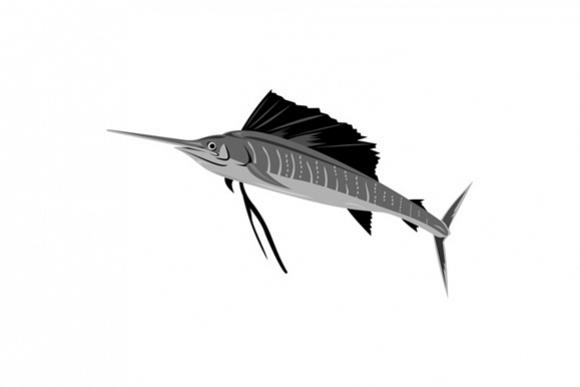 Sailfish Fish Jumping Retro example image 1