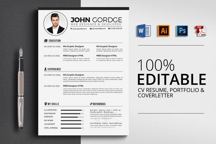 3 pages cv resume templates by designhu design bundles
