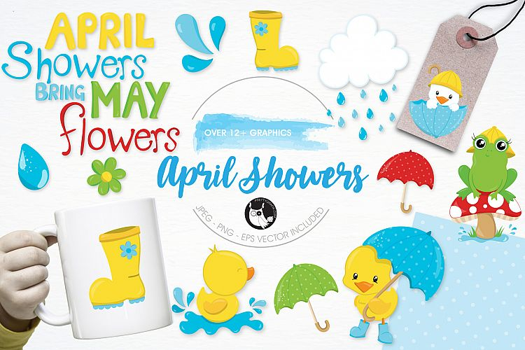 April Showers  graphics and illustrations example image 1