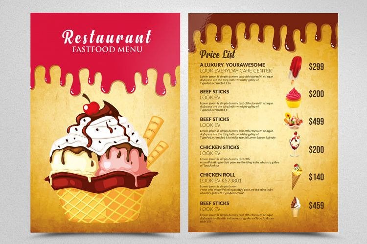 Ice Cream Restaurant Menu Flyer example image 1