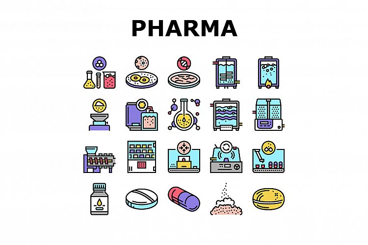 Pharmaceutical Production Factory Icons Set Vector example image 1