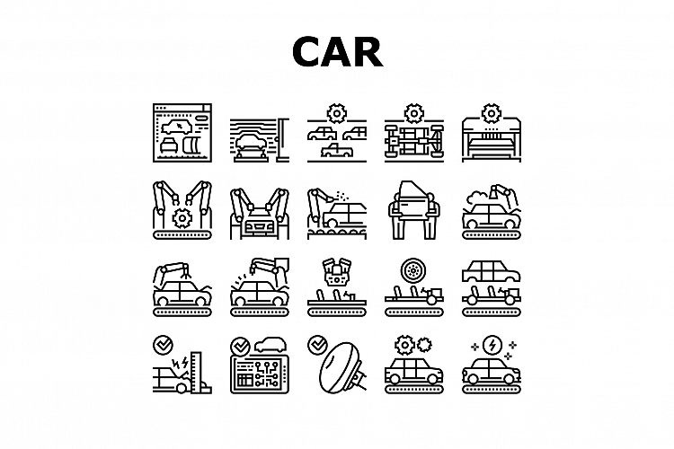 Car Factory Production Collection Icons Set Vector example image 1