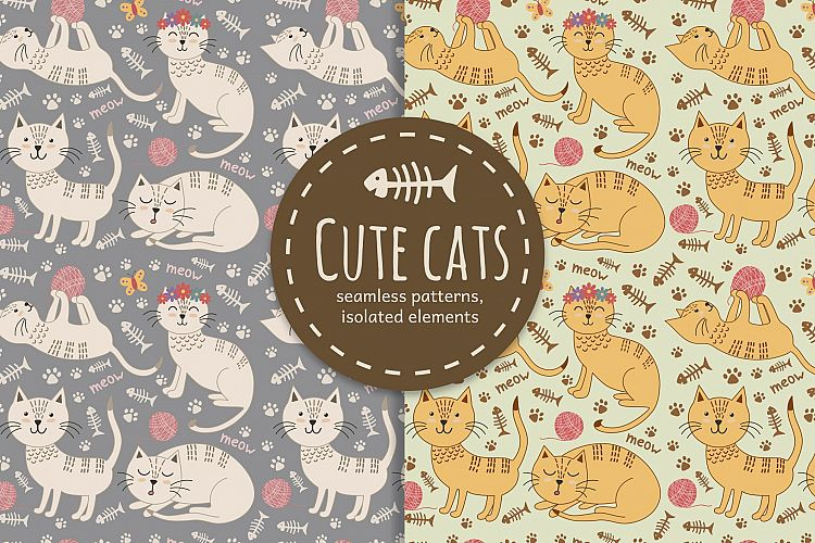 Cute cats seamless patterns example image 1