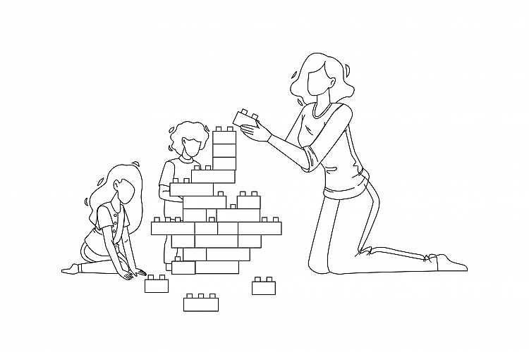 Woman Babysitting And Playing With Children Vector example image 1