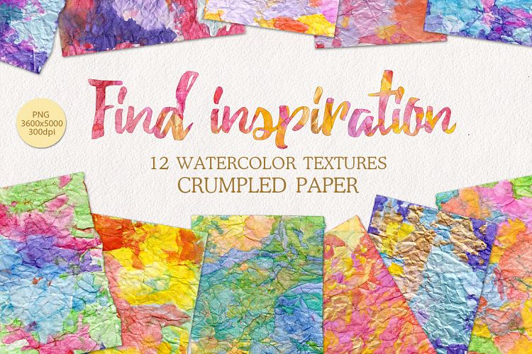 Watercolor rainbow textures on crumpled paper example image 1