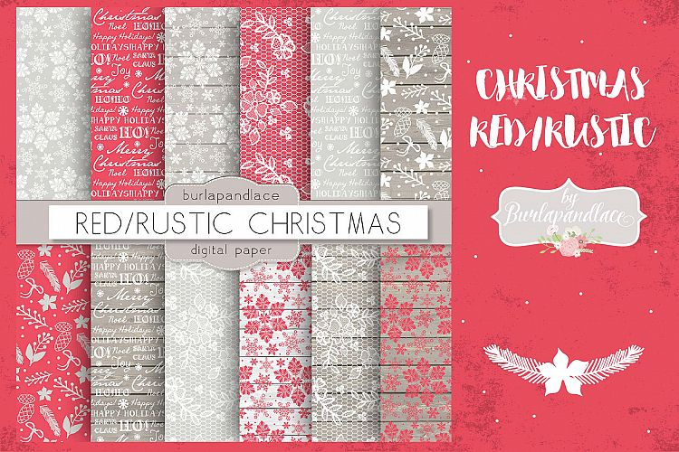 Christmas red rustic digital paper pack example image 1