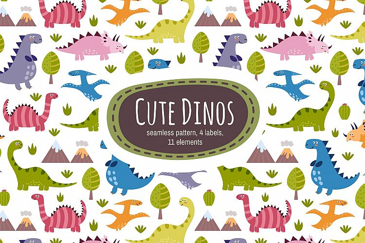 Cute Dinos: pattern & labels example image 1