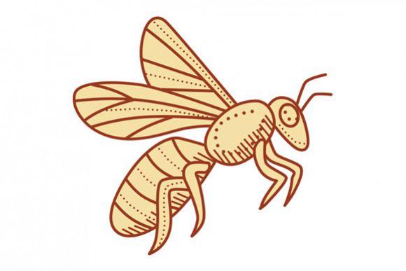 Bee Flying Mono Line example image 1