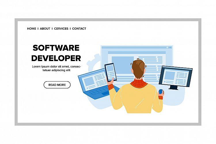 Software Developer Coding Digital Program Vector example image 1