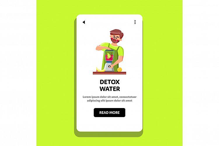 Detox Water Man Preparing In Blender Tool Vector example image 1