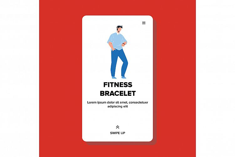 On Fitness Bracelet Watching Young Man Vector example image 1