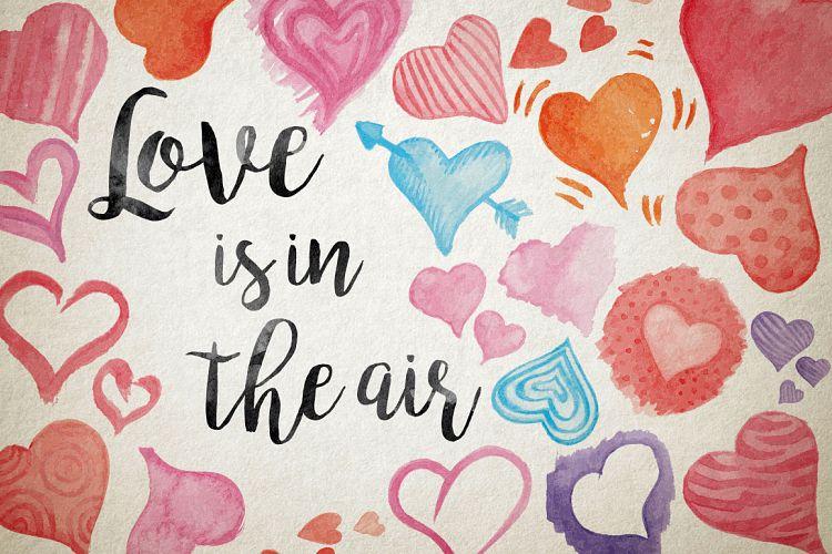Watercolor vector HEARTS example image 1