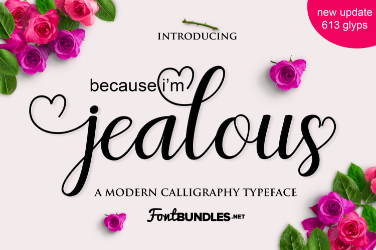jealous modern calligraphy font for weddings