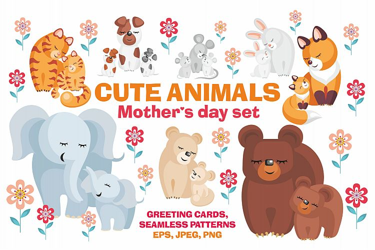 Cute animals. Mothers Day set. example image 1