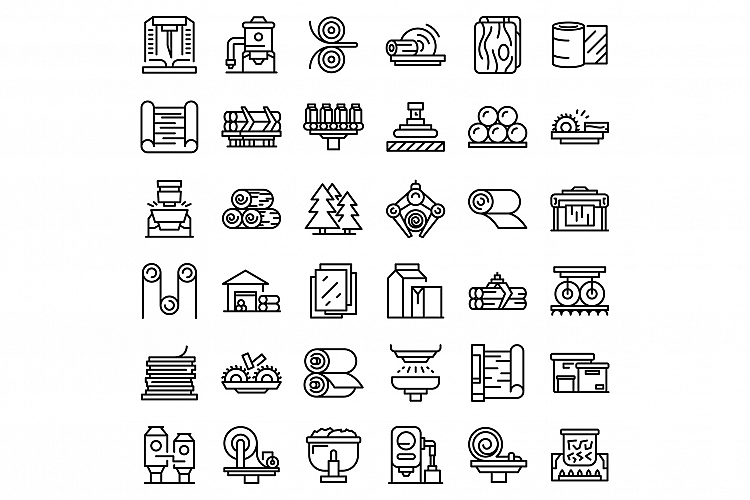 Paper production icons set, outline style example image 1