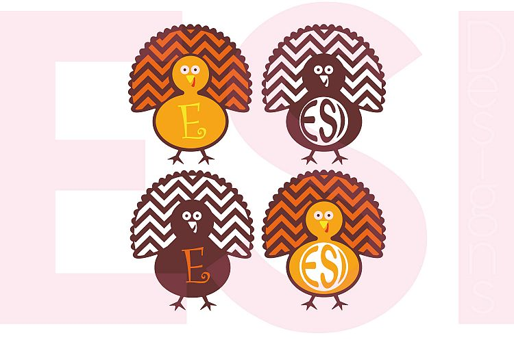 Turkey Monogram Designs - Chevron Pattern example image 1