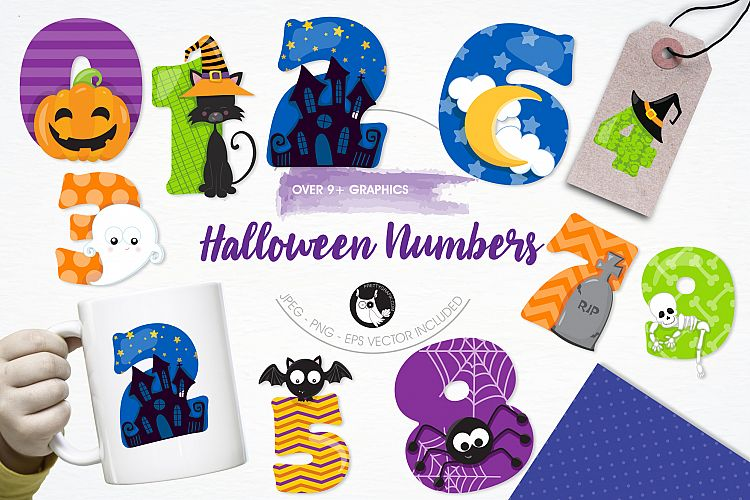 Halloween Numbers graphics and illustrations example image 1