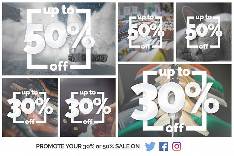 """Up to 50% Off"" - Inform your customers about your Winter Sale example image 1"