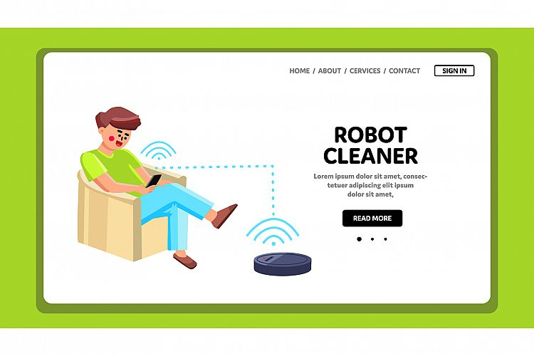 Robot Cleaner Man Control With Phone App Vector example image 1