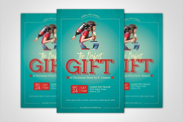 Perfect Gift Church Flyer Poster Template example image 1