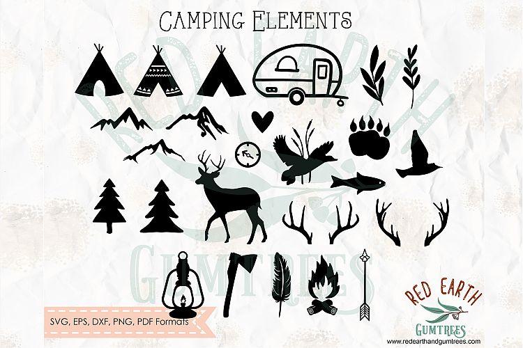 Camping elements, nature lover bundle in SVG,DXF,PNG,EPS,PDF