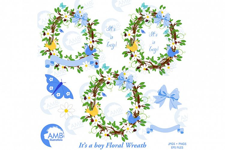 Boy shower clipart, Floral wreath clipart, Floral wreath, It's a boy clipart, commercial use, AMB-1400 example image 1