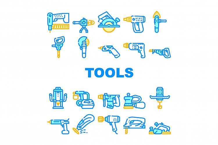 Tools For Building Collection Icons Set Vector example image 1