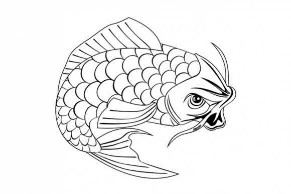 Koi Carp Fish Jumping Line Drawing example image 1