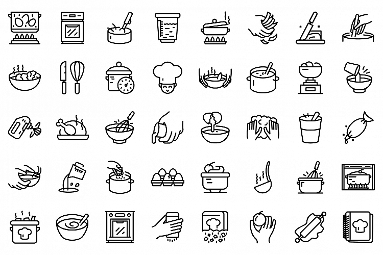 Hands preparing foods icons set, outline style example image 1