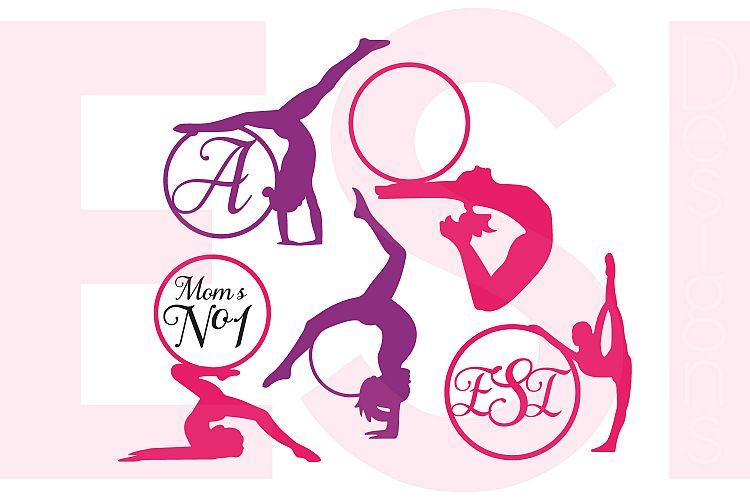 Gymnast Silhouette Monogram Designs Set example image 1