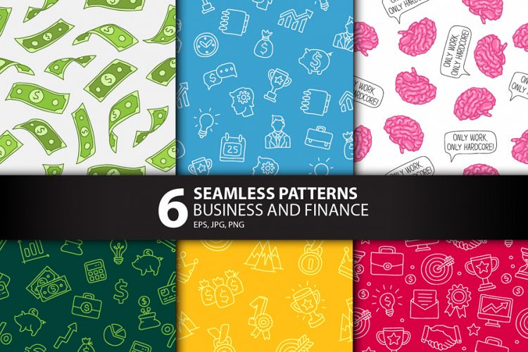 6 Business and Finance Seamless Patterns example image 1
