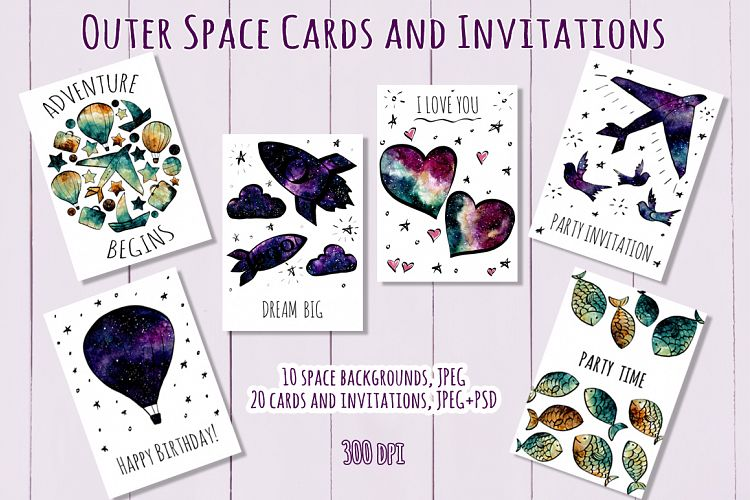 Outer Space Cards and Invitations example image 1
