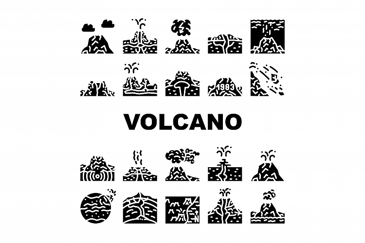 Volcano Lava Eruption Collection Icons Set Vector example image 1