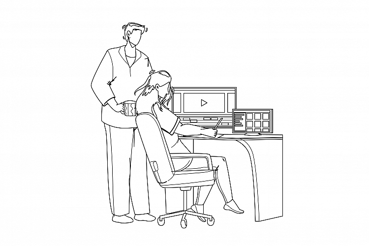 Video Editor Working On Laptop At Workplace Vector example image 1