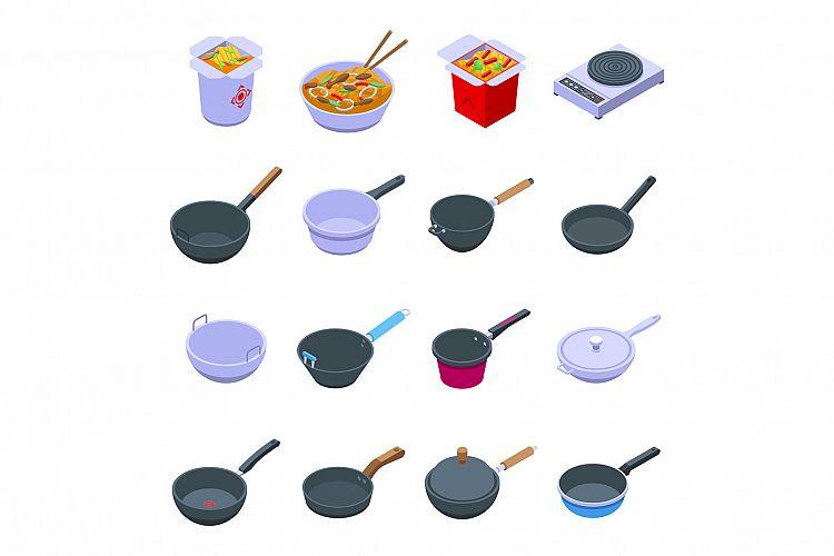 Wok frying pan icons set, isometric style example image 1
