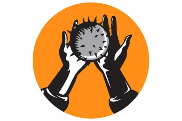 Hand Holding Ball with Spikes Circle Woodcut example image 1