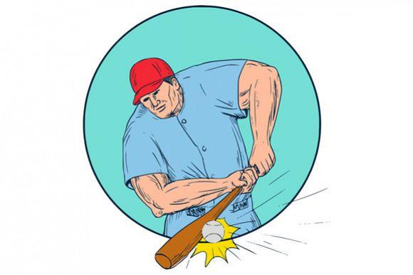 Baseball Player Hitting A Homerun Drawing example image 1