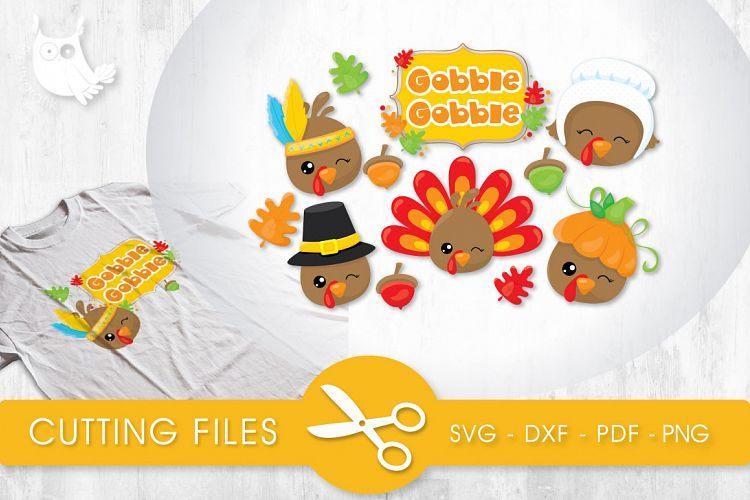 Gobble Gobble Turkies Cutting Files Svg Dxf Pdf Eps Included Cut Files For Cricut And Silhouette Cutting Files Svg 35801 Svgs Design Bundles