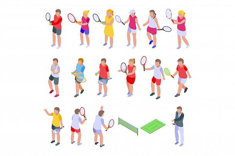 Kids playing tennis icons set, isometric style example image 1