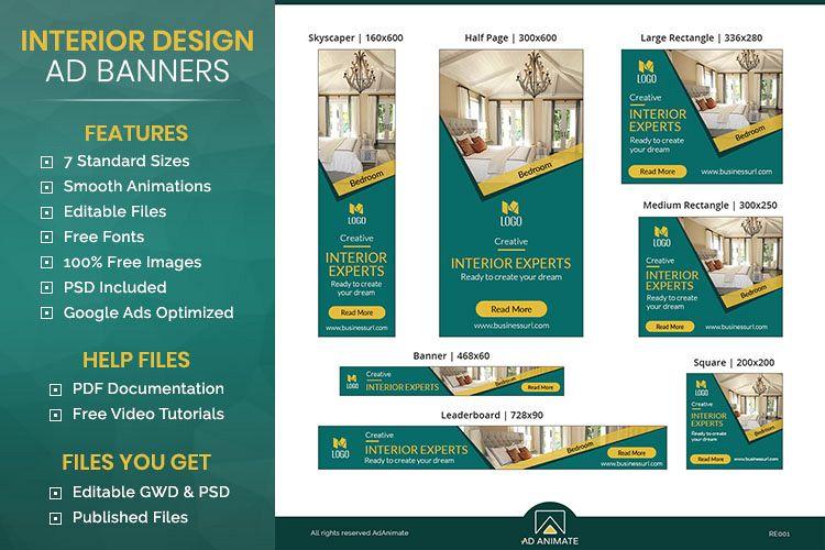 Real Estate Interior Designer Banner Ad Template Re001 132594 Websites Design Bundles