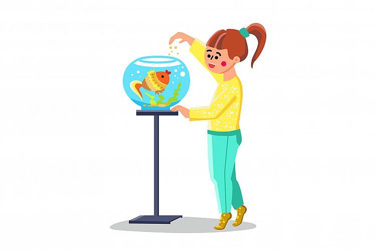 Little Girl Feed Fish In Fishbowl Aquarium Vector example image 1