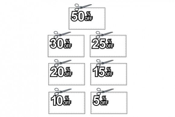 Scissors Cutting Coupon Per Cent Sign example image 1