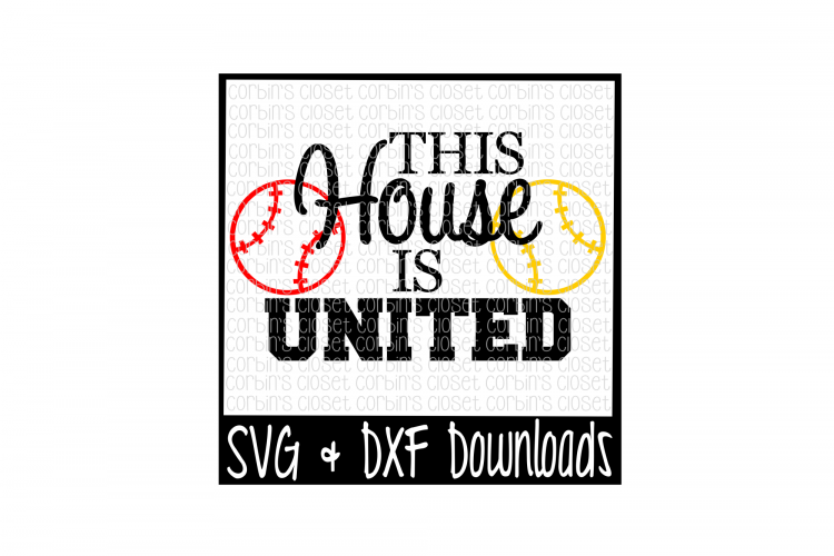 Baseball SVG * Softball SVG * This House Is United Cut File example image 1